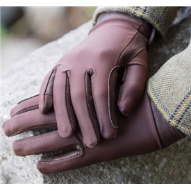 'Equetech Brown Show Gloves Child